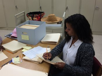 2016 Archie Motley Archival Intern, Sabine Nau, at Chicago Public Library, Vivian G. Harsh Research Collection of Afro-American History and Literature